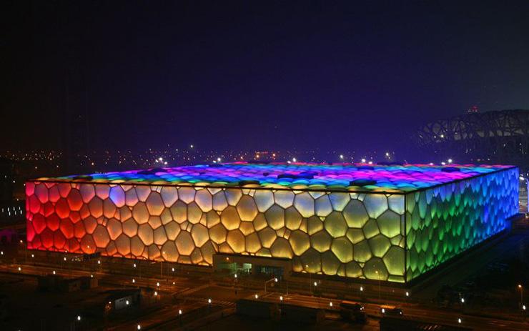 """WaterCube3  """"Water Cube"""" de Beijing ganha nova iluminação na comemoração do seu 5º aniversário WaterCube3"""