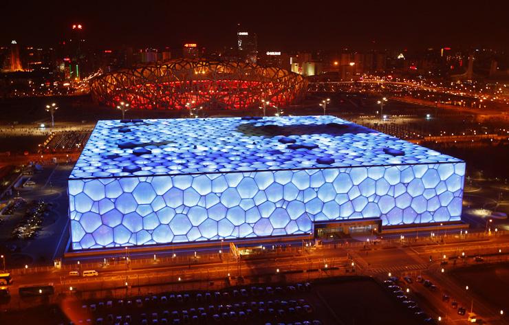 """water_cube  """"Water Cube"""" de Beijing ganha nova iluminação na comemoração do seu 5º aniversário watercube2"""