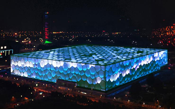 """Nature and Man in Rhapsody of Light at the Water Cube  """"Water Cube"""" de Beijing ganha nova iluminação na comemoração do seu 5º aniversário watercube4"""