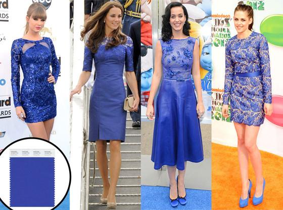 """""""Dazzling Blue cor pantone 2014""""  Moda: modelos para uma passagem de ano Pantone Dazzling Blue has become a fave among celebs already"""