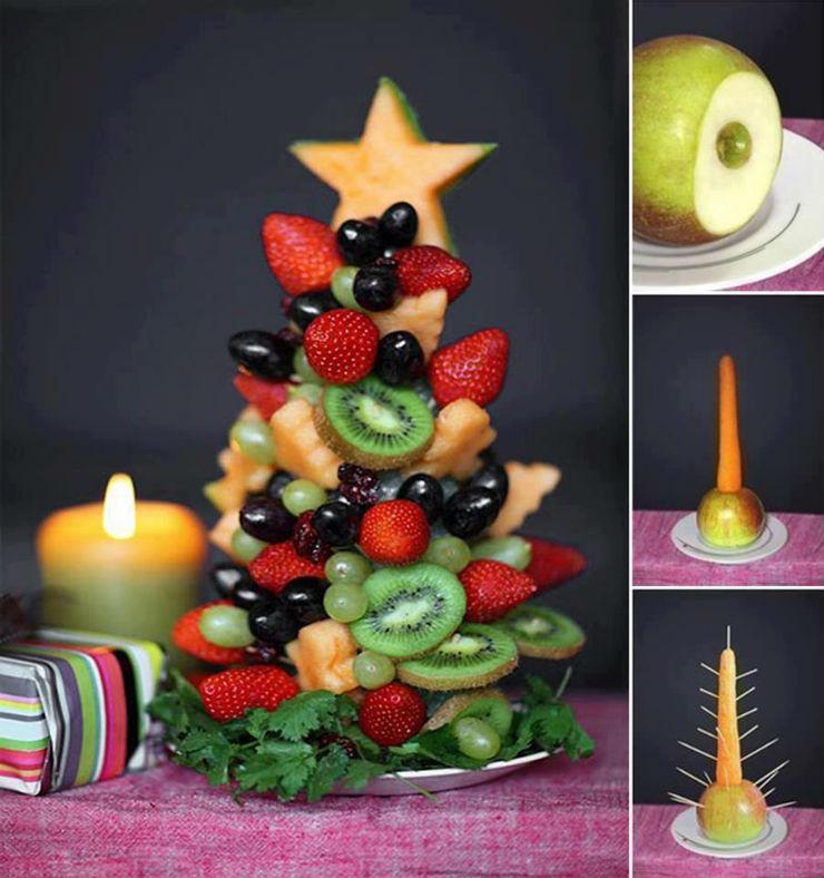 """""""Árvore de Natal feita com frutas""""  Decoração: 10 Árvores de Natal exóticas arvoredenataldefrutas"""
