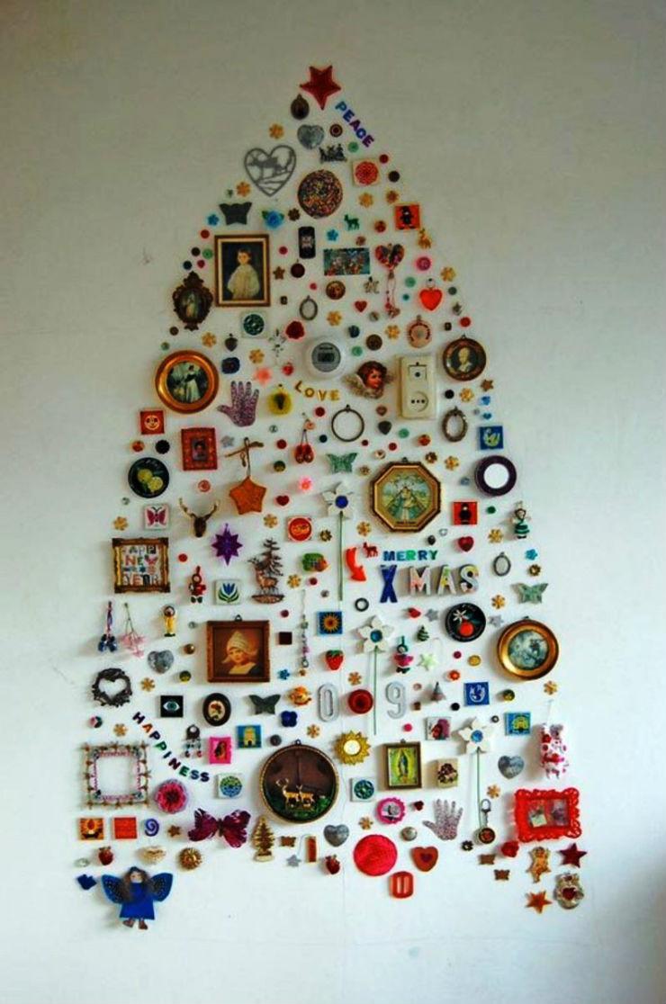 """""""Árvore de Natal na parede""""  Decoração: 10 Árvores de Natal exóticas arvoredenatalparede"""
