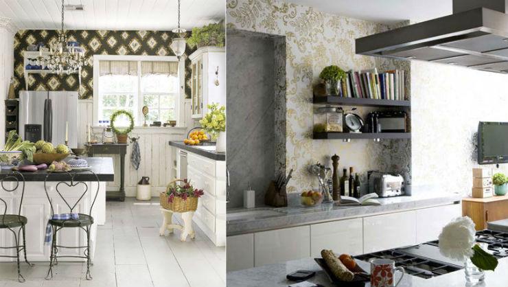 """""""Cozinha com papel de parede""""  15 ideias de decoração com papel de parede cozinhacompapeldeparede"""