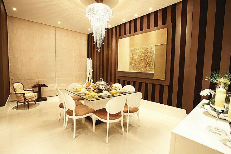 """""""Papel de parede na sala de jantar""""  15 ideias de decoração com papel de parede papeldeparedesaladejantar"""