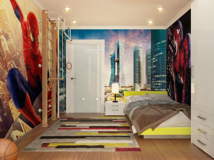 """""""quarto de rapaz com papel de parede""""  15 ideias de decoração com papel de parede quartoderapazcompapeldeparede"""