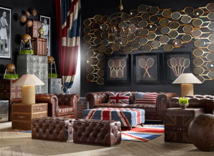 """""""Sala de estar com tons da bandeira do britânica""""  Salas de estar para 10 times da Copa do Mundo de Futebol salabritanica"""