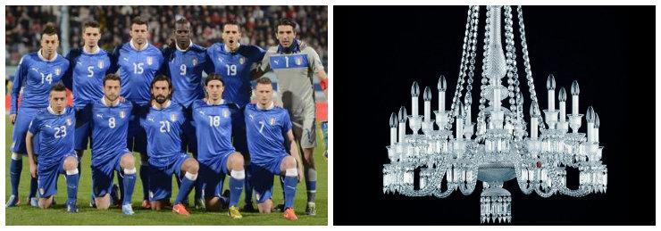 """""""Itália e Baccarat""""  Copa do Mundo: uma luminária para cada equipe bacarat it"""