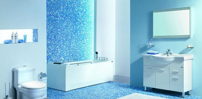 """""""Banheiro em azul""""  Decoração: Os mais bonitos banheiros em azul Pastilhas de Vidro Banheiro 655x320"""
