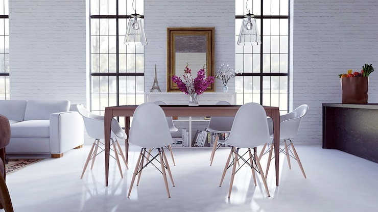13-imperdivel-24-sugestoes-de-salas-de-jantar-modernas-white-eames-dining-chairs  IMPERDÍVEL! Confira estas 24 sugestões de Salas de Jantar modernas 13 imperdivel 24 sugestoes de salas de jantar modernas white eames dining chairs